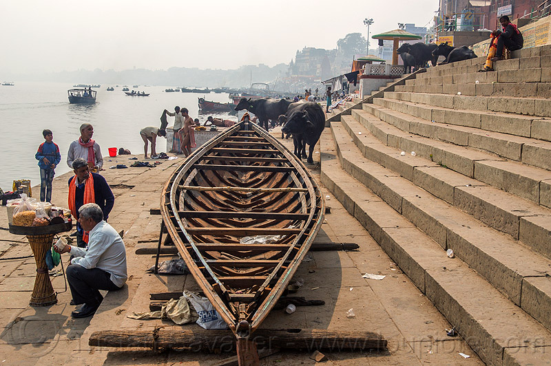 hull of riverboat on a ghat - varanasi (india), boat, cows, ganga, ganga river, ganges, ganges river, ghats, people, river bank, river boat, steps, water, water buffaloes