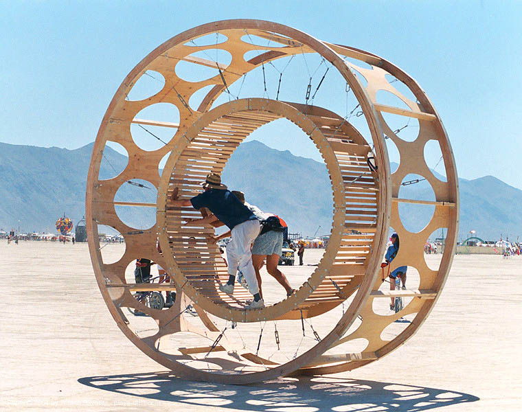 human hamster wheel - burning-man 2003, art installation, burning man, human hamster wheel, playa, rolling