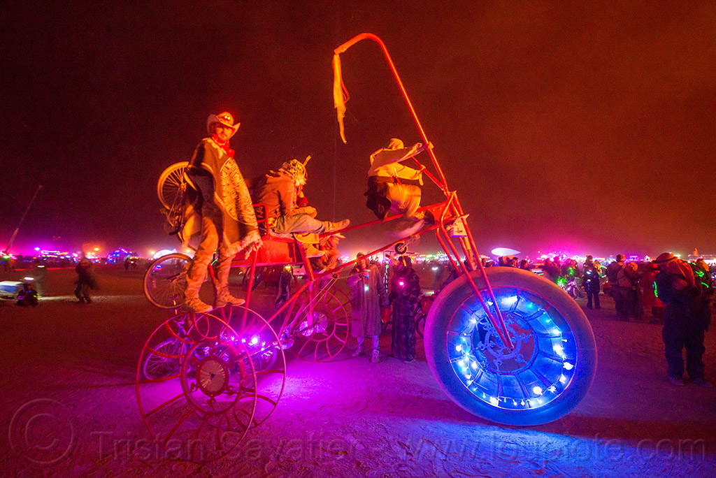 human-powered trike art car, burning man, night of the burn, tricycle, trike, unidentified art car