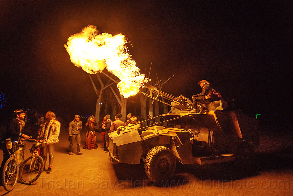 humvee art car shooting fire - burning man 2015, burning man, fire cannon, flame, hmmwv, humvee, night, unidentified art car