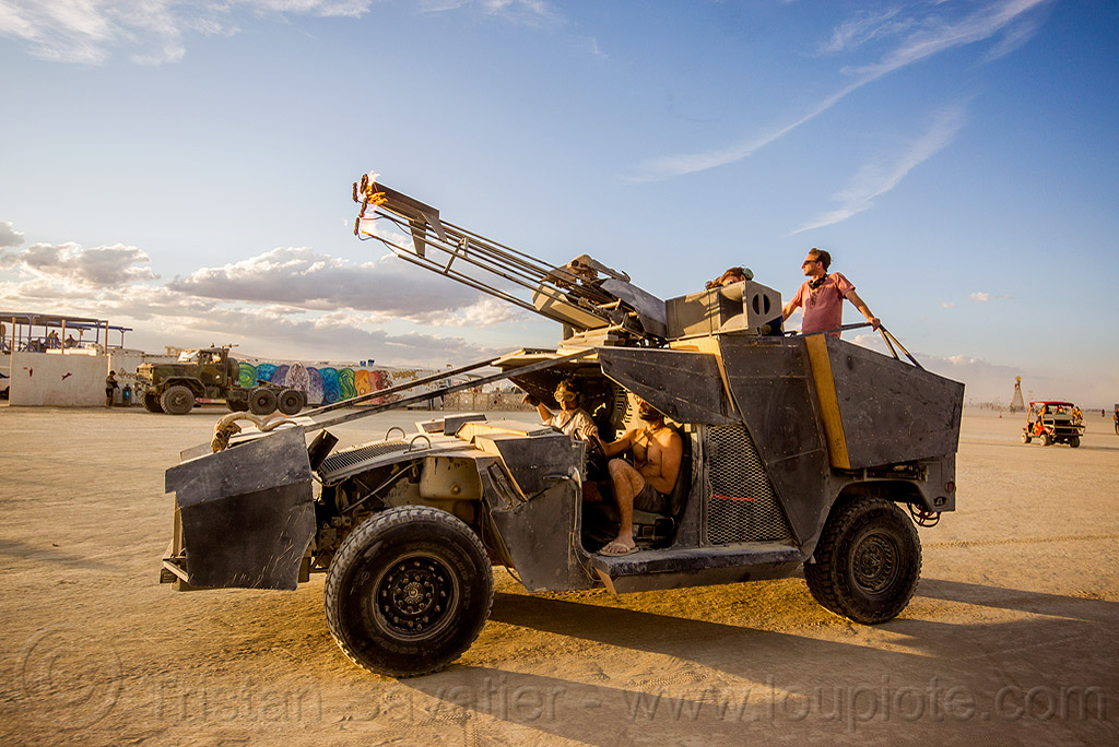 humvee art car with fire canon - burning man 2015, fire, flame, hmmwv, humvee, unidentified art car