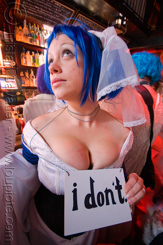 I don't! - akatrielle - brides of march (san francisco), akatrielle, blue hair, brides of march, cleavage, festival, wedding, white, woman