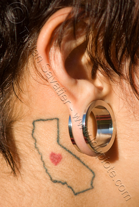I love california tattoo - ear gauging - stretched piercing, ear gauging, ear piercings, earlobe piercing, gauged ears, girl, i love california, jewelry, stretched earlobes, stretched piercing, tasha, tattooed, tattoos