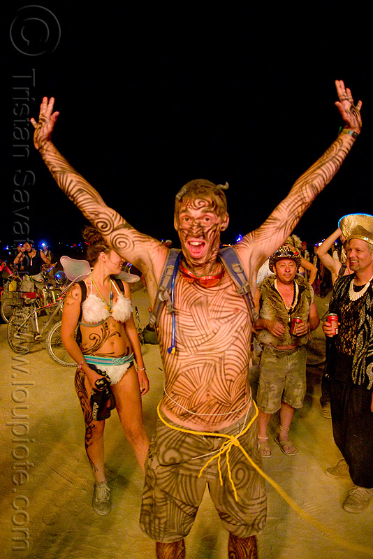 ian - burning man 2009 - body-paint, body art, body paint, body painting, night, yellow rope