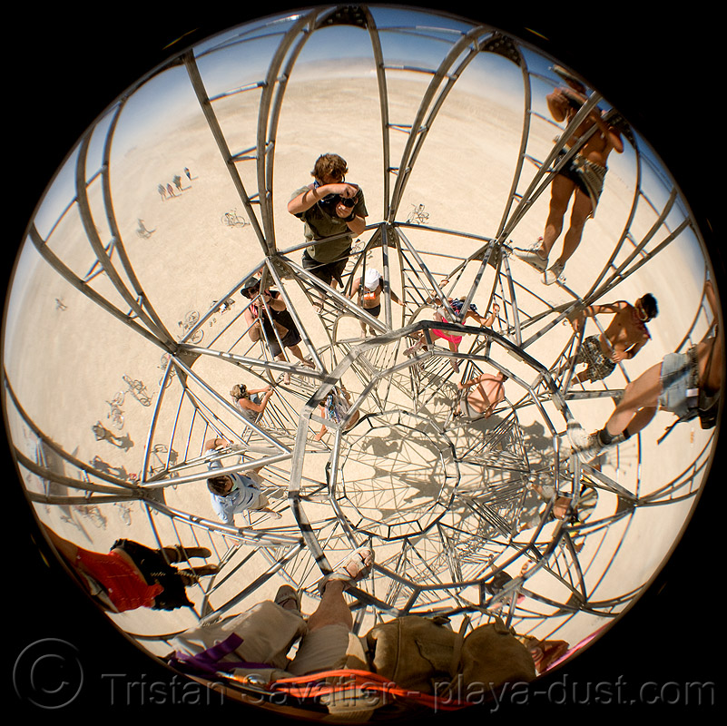 in the tower - burning man 2008, art installation, circular fisheye lens, climbing, interactive, metal, playa, sculpture
