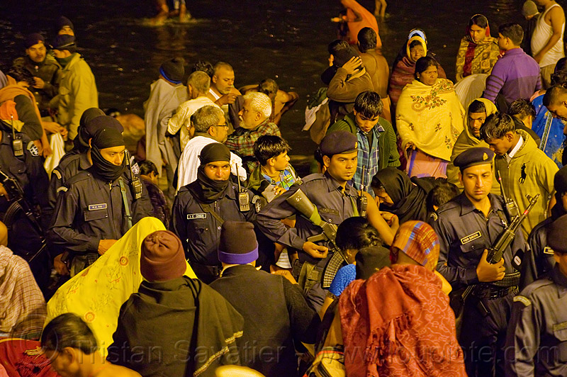 indian army elite commandos patrolling sangam at kumbh mela 2013 (india), a k singh, ak-47, akm, army uniform, commando, crowd control, guns, hindu, hinduism, indian army, insas rifles, kumbha mela, law enforcement, m k rai, maha kumbh mela, men, military, mohammad shahzad, night, patrol, paush purnima, pilgrims, soldiers, squad, street lights, triveni sangam, women, yatris