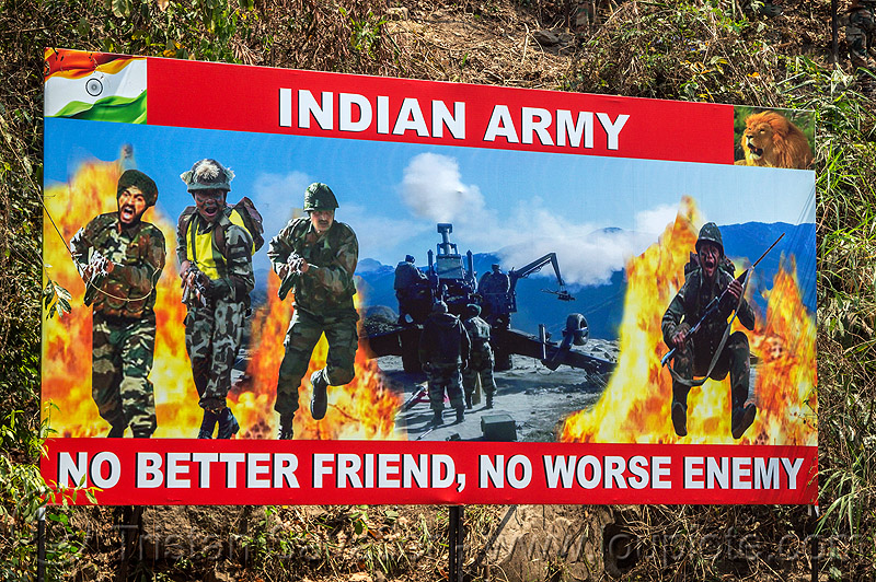 indian army - no better friend - no worse enemy - advertising billboard, advertising, billboard, fatigues, fire, flames, indian army, military, poster, sign, sikh, soldiers, uniform