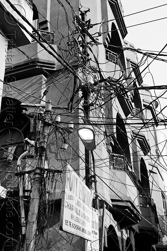indian electric wiring on street poles, electricity, entangled, foot fashion, infrastructure, lucknow, sign, street light, wires
