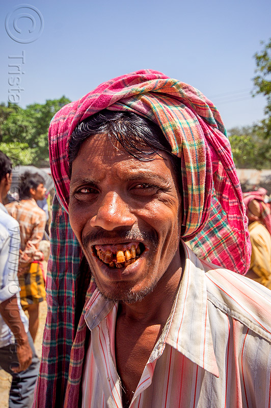 indian man smiling - betel nut teeth (india), betel leaf, betel nut, betelnut teeth, headdress, india, man, muslim, turban, west bengal