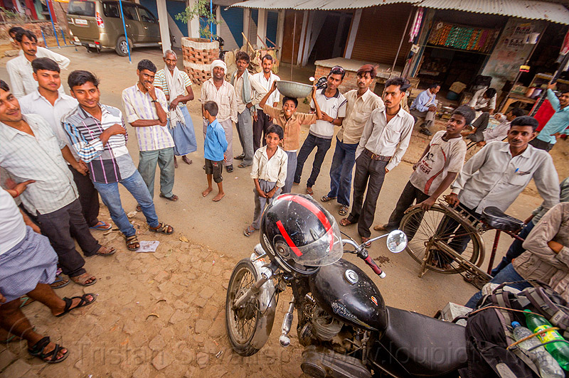 indian people around my royal enfield bullet motorbike (india), boys, bullet, chil, children, crowd, full face helmet, india, khoaja phool, kids, men, motorcycle helmet, motorcycle touring, royal enfield, thunderbird, village, खोअजा फूल