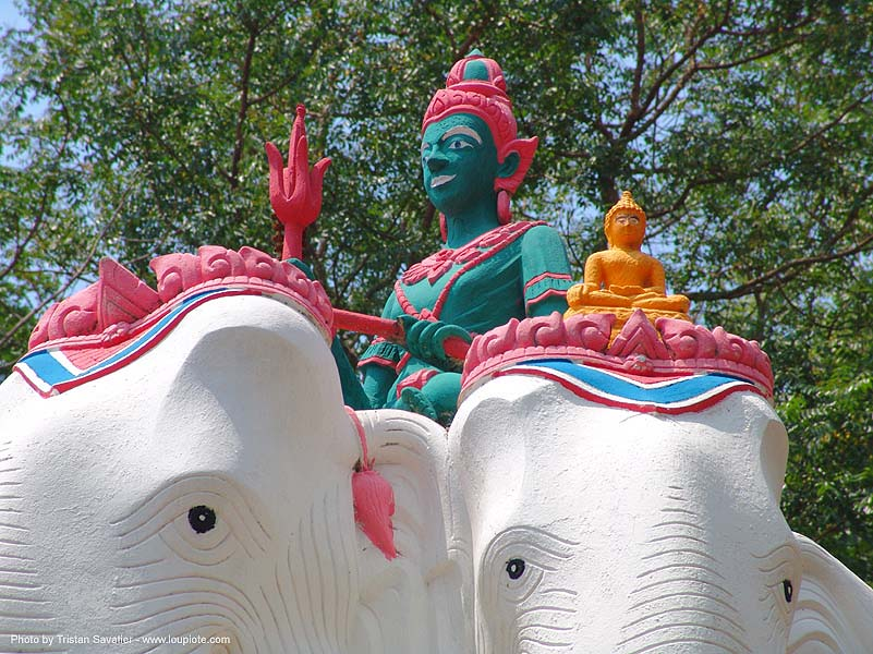 indra on erawan (aka airavata) - เอราวัณ - three-headed white elephant sculpture - ऐरावत - thailand, elephant sculpture, elephant statue, erawan, thailand, three-headed white elephant, ऐरावत, เอราวัณ