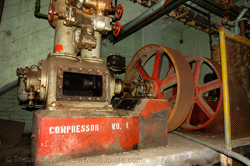 industrial compressor pump, abandoned, abandoned factory, derelict, pipes, tie's warehouse, trespassing, valves, wheels