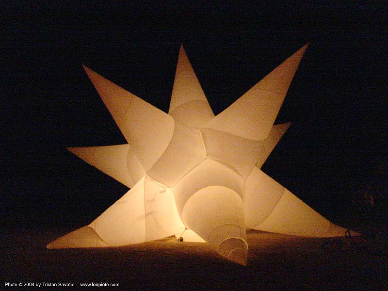 inflatable star - burning-man 2004, art installation, burning man, designs in air, inflatable art, inflatable star, luke egan, night, pete hamilton, spiky, star shaped, starmageddon