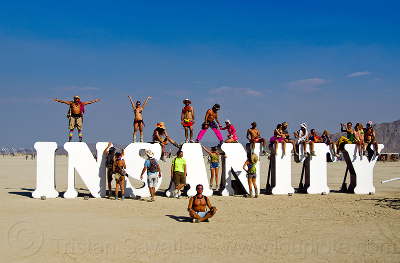 INSANITY - burning man 2013, art installation, burning man, crowd, insanity, letters, playa