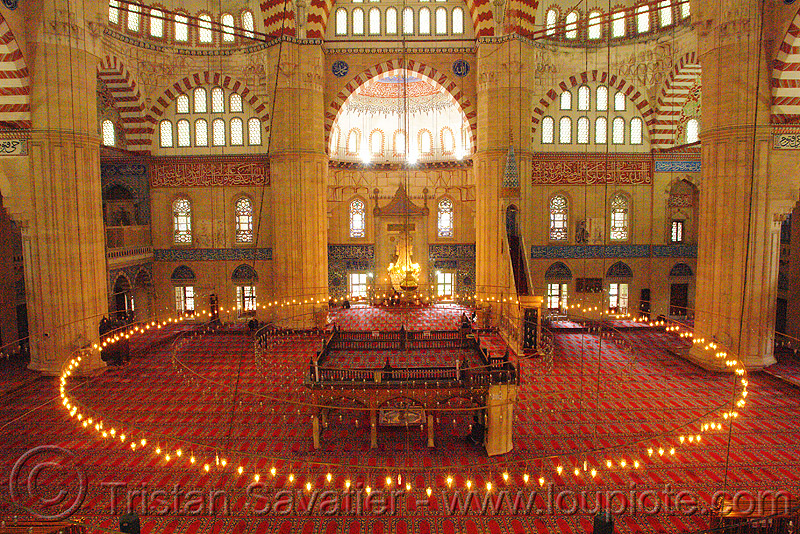 inside the selimiye mosque (edirne, turkey), architecture, circle, interior, islam, religion