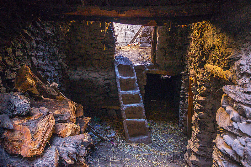 inside a traditional house in the himalaya mountains - kagbeni village (nepal), annapurnas, house, interior, kagbeni, kali gandaki valley, ladder, stairs, steps, trunk, village, wood, wooden