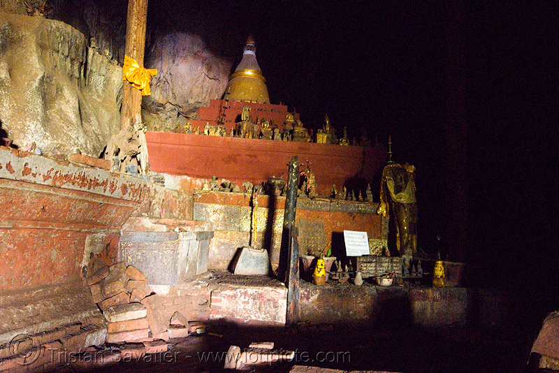 inside the upper pak ou cave near luang prabang (laos), buddha images, buddha statues, buddhism, caving, cross-legged, damaged, laos, luang prabang, natural cave, old, pak ou caves temples, sculpture, spelunking, statue