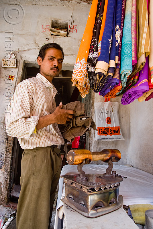 ironing shop - jaipur (india), charcoal iron, ironing board, ironing table, man, people