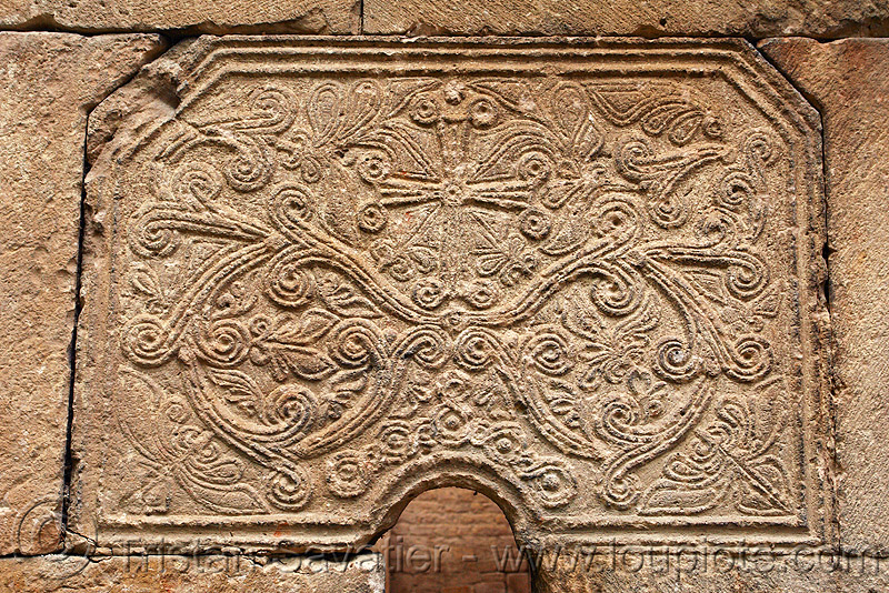Işhan monastery - low relief stone carving - georgian church ruin (turkey), byzantine architecture, cross, decoration, detail, floral, geometric, georgian church ruins, ishan church, ishan monastery, işhan, low-relief, motives, orthodox christian