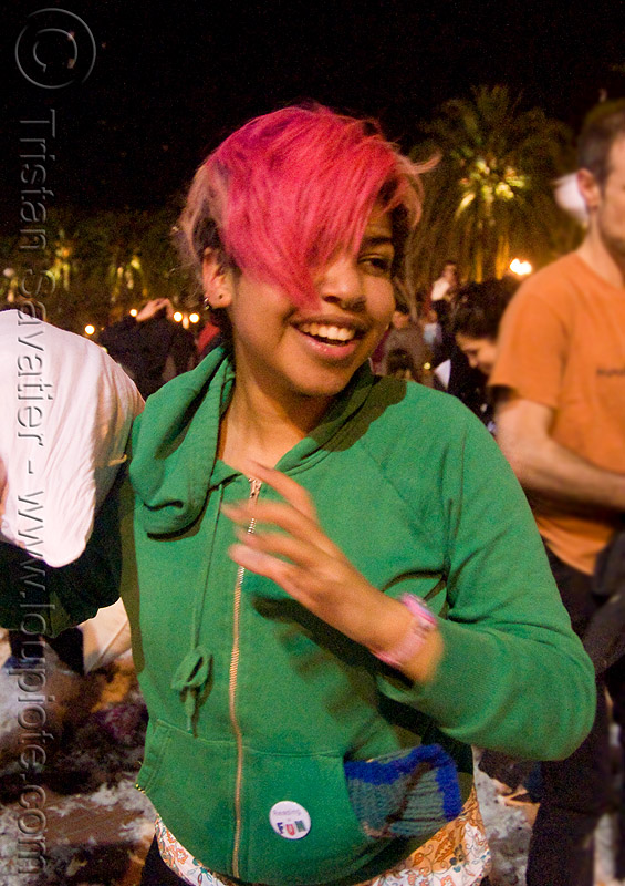 isis at the great san francisco pillow fight 2009, down feathers, night, people, pillow fight club, pillows, pink hair, world pillow fight day