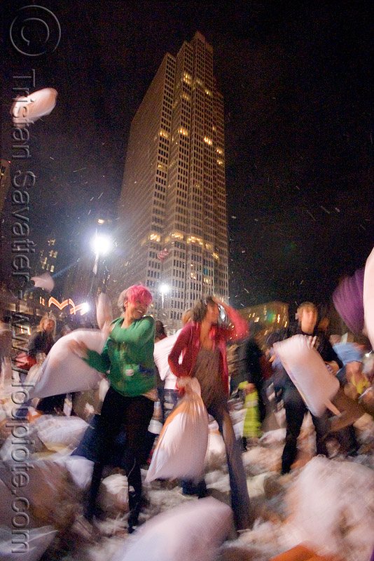 isis at the great san francisco pillow fight 2009 - one embarcadero center tower, building, down feathers, high-rise, hirise, isis, night, one embarcadero center, pillow fight club, pillows, skyscraper, tower, world pillow fight day