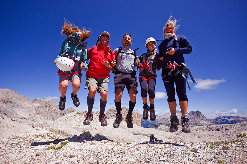 family jumping, alps, climbers, climbing, climbing helmet, dolomites, dolomiti, ferrata, five, jump, jumpshot, men, mona, mountain climbing, mountaineer, mountaineering, mountains, people, rock climbing, scalette, via ferrata, via scalette, women