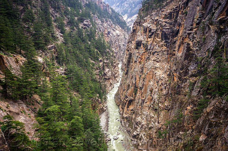 jadh ganga river gorge (india), bhagirathi valley, canyon, cliffs, forest, mountains, water