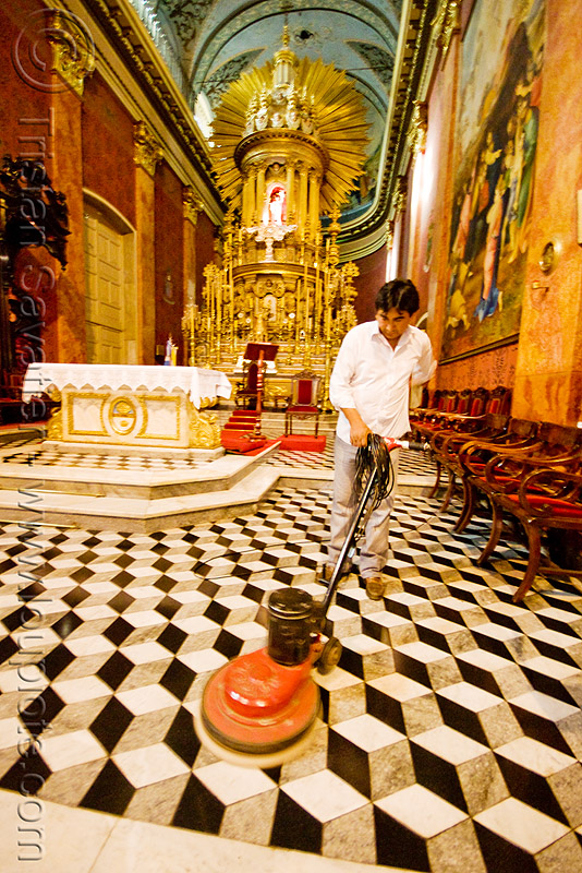 janitor waxing the floor tiles - salta cathedral (argentina), baroque, church, cleaning, man, noroeste argentino, people, polishing, salta capital
