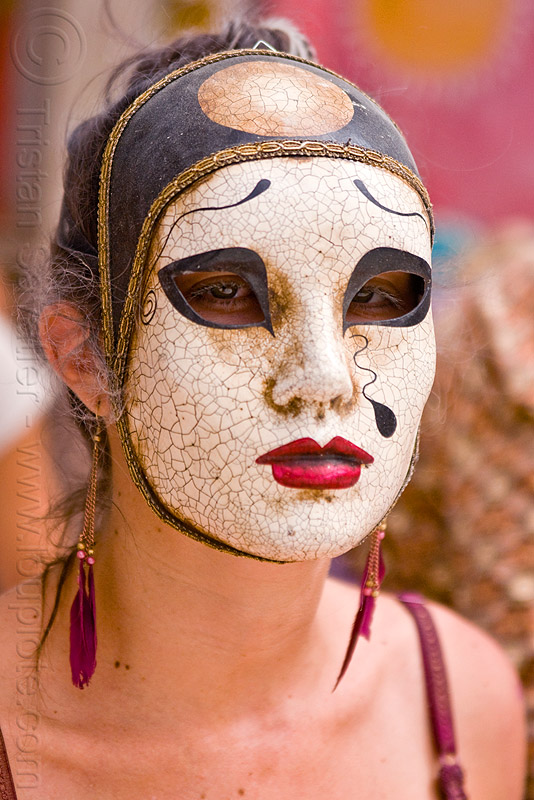 japanese mask, asian woman, burning man, cracked, japanese mask