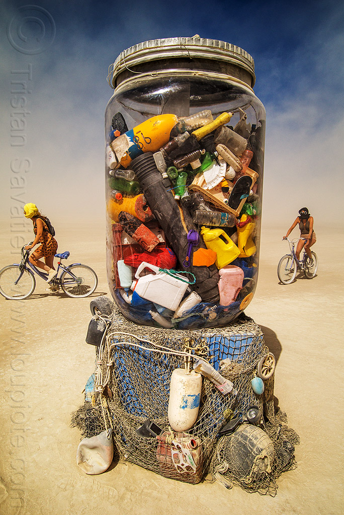 jar of ocean trash - burning man 2016, art installation, burning man, giant jar, ocean trash, sculpture