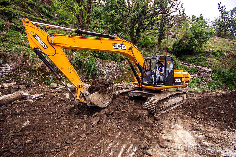 JCB excavator clearing a landslide (india), at work, excavator, india, jcb, js200, js200hd, man, road construction, roadwork, worker, working