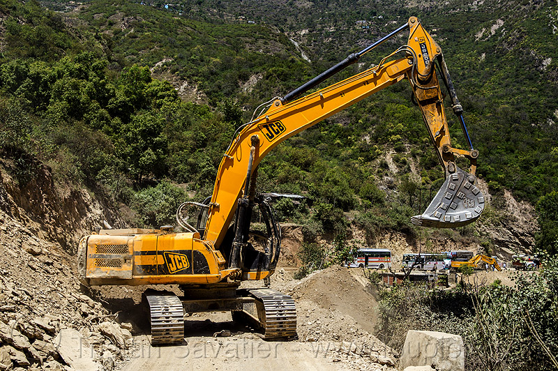JCB JS200 excavator (india), at work, construction, heavy equipment, hydraulic, js200hd, landslide, machinery, road, road construction, roadwork, working