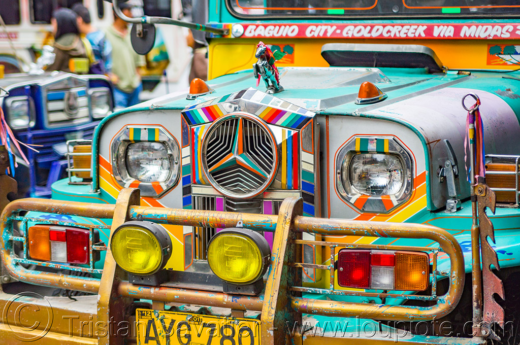 jeepney front grill (philippines), baguio, colorful, decorated, front grill, jeepney, painted, philippines, truck