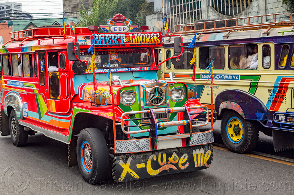 jeepney (philippines), baguio, decorated, jeepneys, painted, philippines, public transportation, road, truck