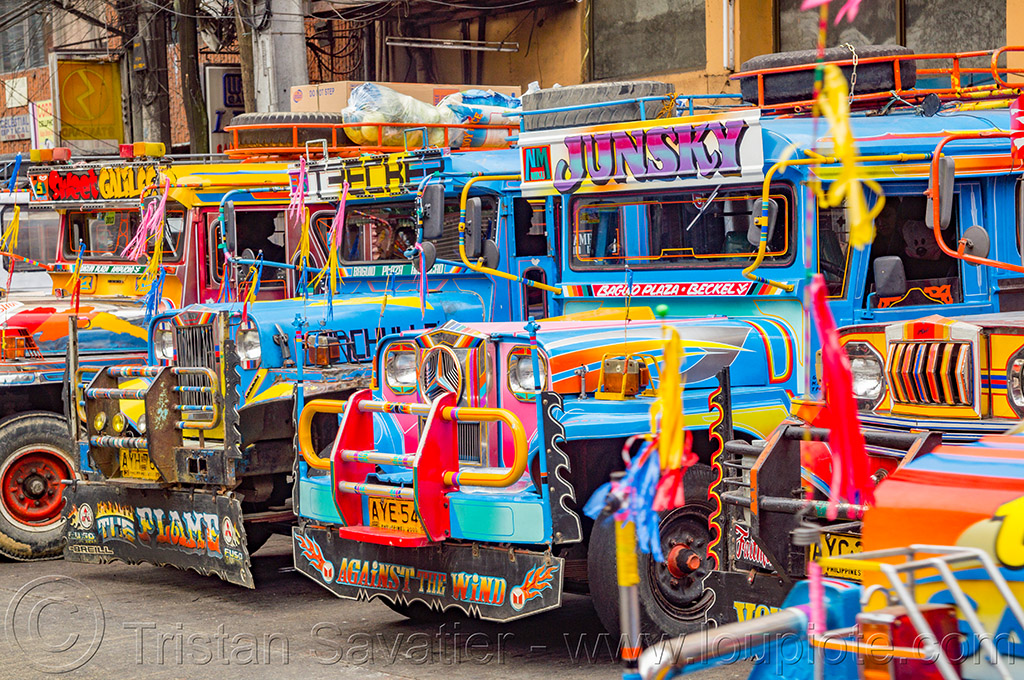 jeepneys at jeepney station (philippines), baguio, colorful, decorated, front grill, jeepney, painted, philippines, truck