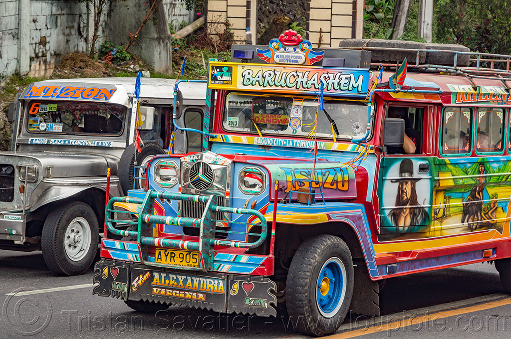 jeepneys on the road (philippines), baguio, colorful, decorated, front grill, jeepney, painted, philippines, road, truck
