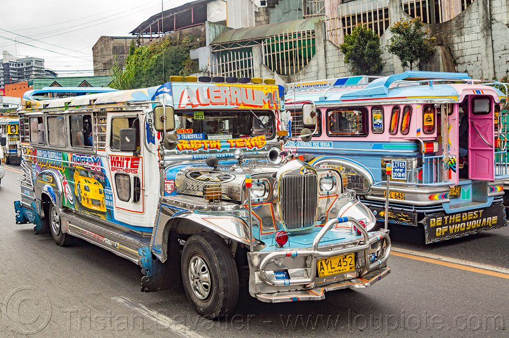 jeepneys on street (philippines), baguio, colorful, decorated, jeepney, painted, philippines, road, truck