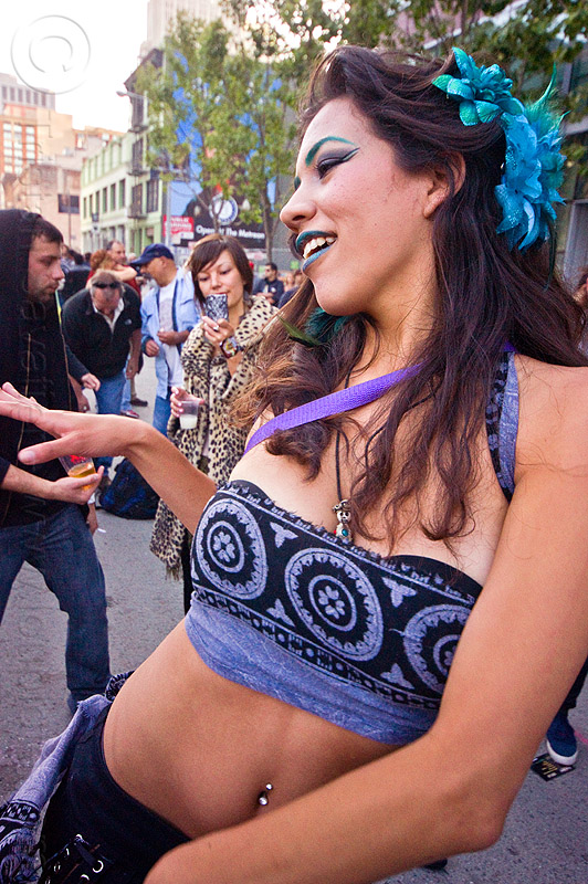 jessica dancing at how weird street fair (san francisco), belly button piercing, belly piercing, blue lipstick, blue makeup, dancing, flower headdress, jessica, navel piercing, woman