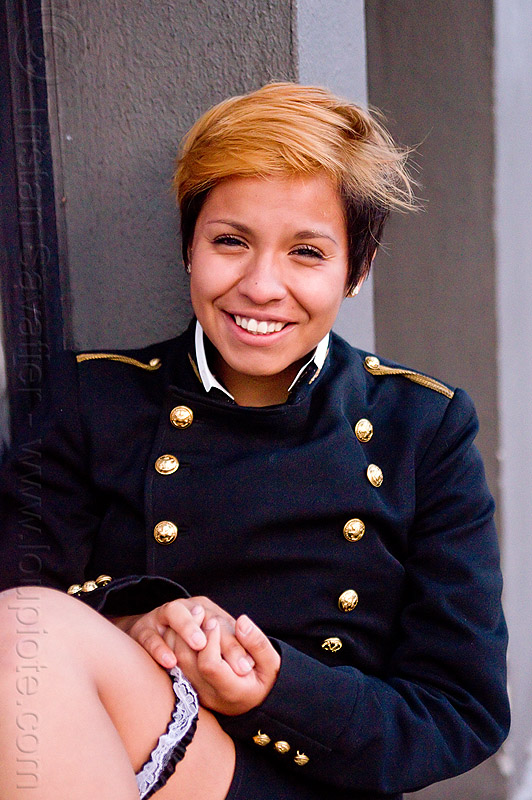jessica gonzalez in my grand uniforme of ecole polytechnique, army, dress uniform, ecole polytechnique, fashion, folsom street fair, garter, grand uniforme, grand-u, gu, jacket, jessica, lingerie, military, red hair, veste, woman