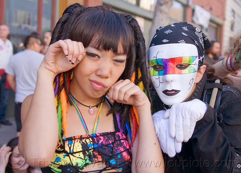 jessikr and white mask with rainbow colors, gay pride festival, jessikr, rainbow colors, rainbow mask, white gloves, white mask, woman