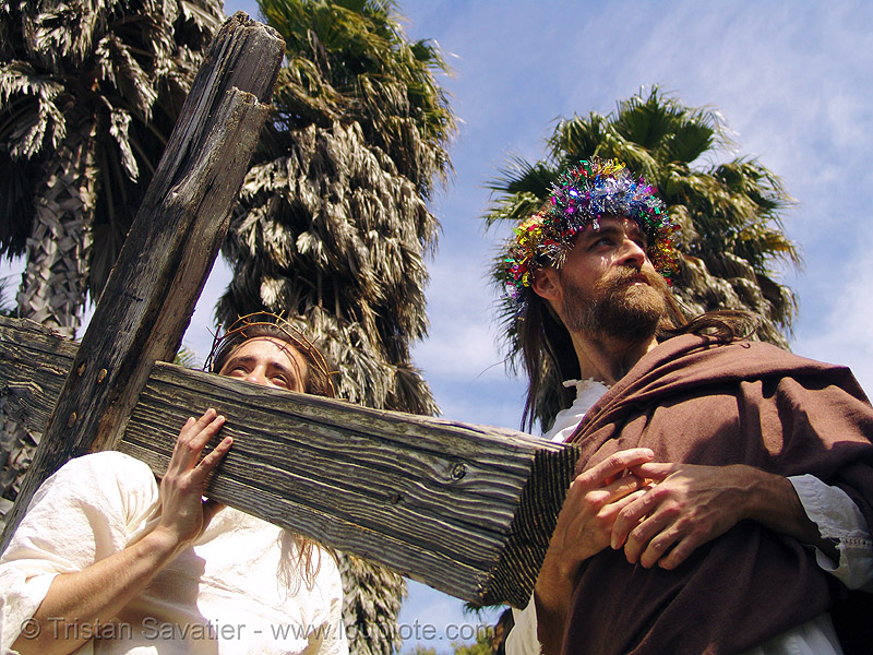 jesus carrying cross - easter sunday in dolores park, san francisco, cross, dolores park, easter, hunky jesus contest, jesus christ, men, randal smith, religion