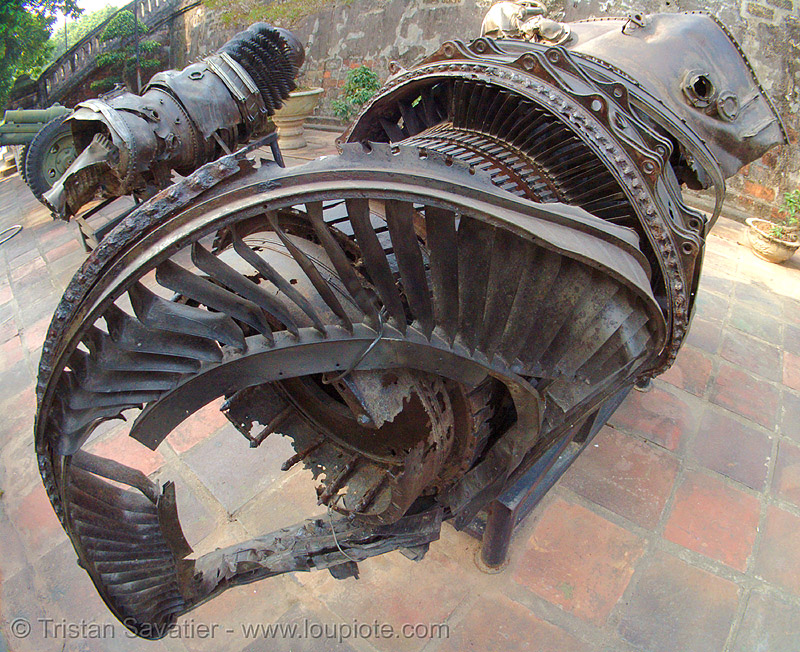jet engine from crashed US war plane - vietnam, aircraft, army museum, crashed, fisheye, hanoi, jet engine, military, plane crash, shot down, turbine, twisted, vietnam war, warplane, wreck, wreckage