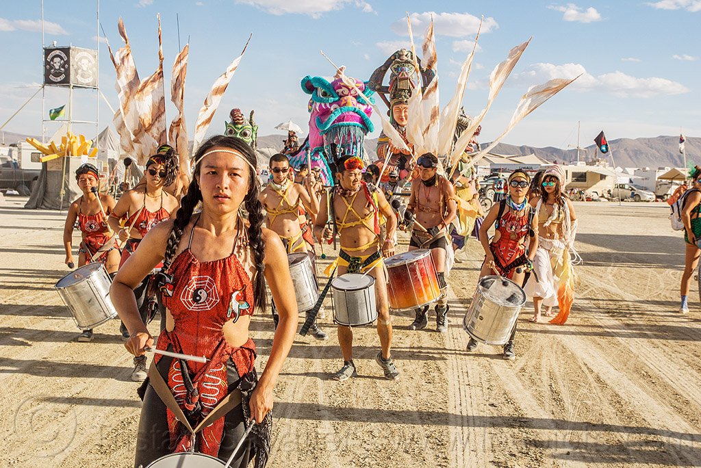 jia ling chang - drum leader - mazu marching band - burning man 2016, brazilian drums, burning man, drummers, marching band, mazu camp, samba reggae