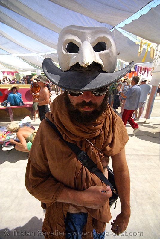 jon - burning man 2007, burning man, center camp, hat, jon, mask