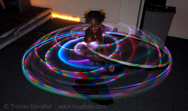 joy spinning a LED hula hoop (san francisco), glowing, hula hoop, hula hooping, led hoop, led lights, light hoop, night