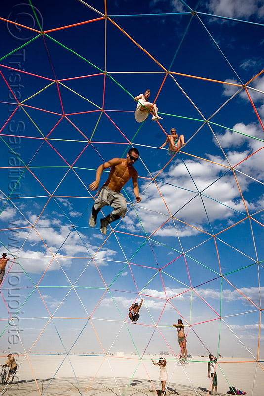 jumping from the top of the darwin dome - geodesic dome - burning man 2009, darwin dome, falling, geodesic dome, hippie killer, jump, jumper, man, overkill, tetrion