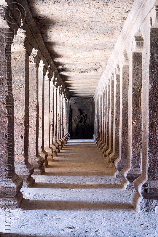 kailash temple - corridor - monolithic hindu temple - ellora caves (india), columns, ellora caves, hindu temple, hinduism, kailasa temple, kailasanatha temple, kailash temple, kailashnath temple, kailashnatha temple, monolithic, perspective, rock-cut, vanishing point, कैलास मन्दिर