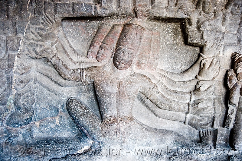 kailash temple - low relief - ellora caves (india), 10-arm, deity, divinity, ellora caves, hindu temple, hinduism, low-relief, monolithic, rock-cut, sculpture, ten arms