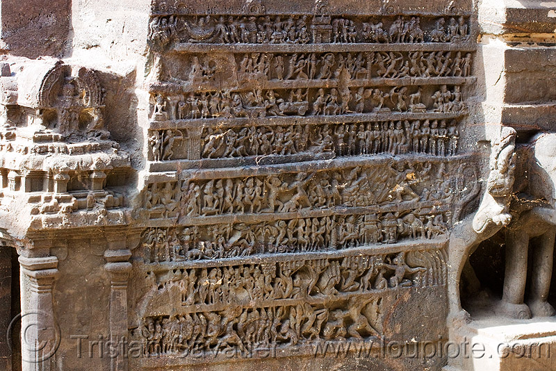 kailash temple - monolithic hindu temple - ellora caves (india), ellora caves, high-relief, hindu temple, hinduism, kailasa temple, kailasanatha temple, kailash temple, kailashnath temple, kailashnatha temple, monolithic, rock-cut, sculpture, कैलास मन्दिर