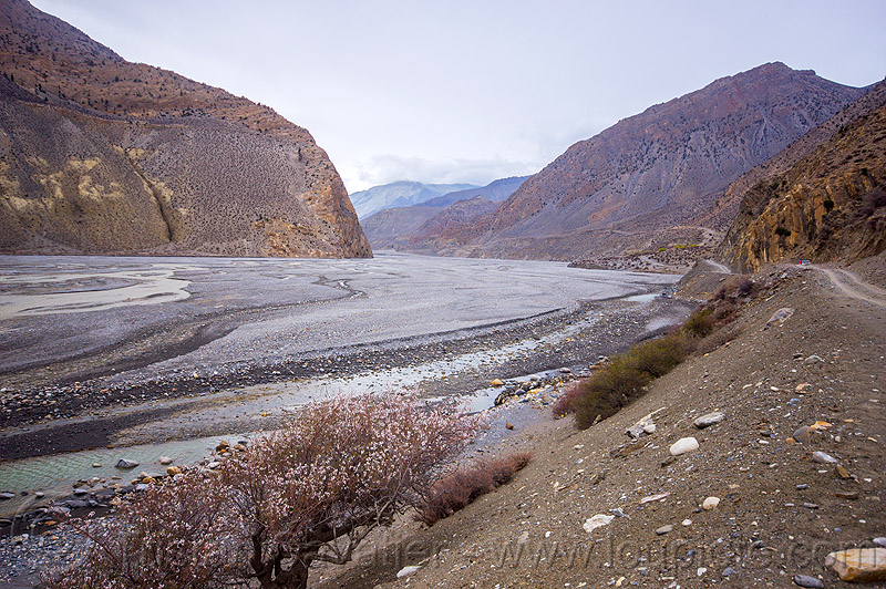 kali gandaki river bed between jomsom and kagbeni (nepal), annapurnas, kali gandaki valley, mountains, water